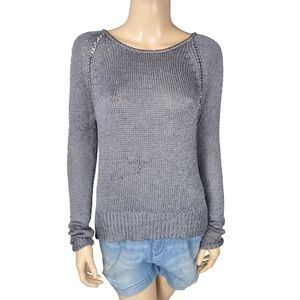 Greylin Silver Metallic Chain Slit Stretch Sweater